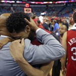 anthony davis hugging pelicans coach monty williams for playoffs nba 2015