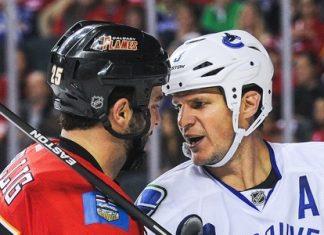 Vancouver Canucks vs Calgary Flames men fight hockey 2015
