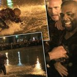 kanye west lake jump paris 2015