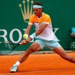 rafael nadal knocks back john isners ball at monte carlo masters 2015