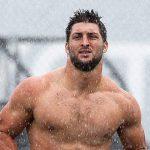 tim tebow running shirtless bulge in rain for philadelphia eagles 2015