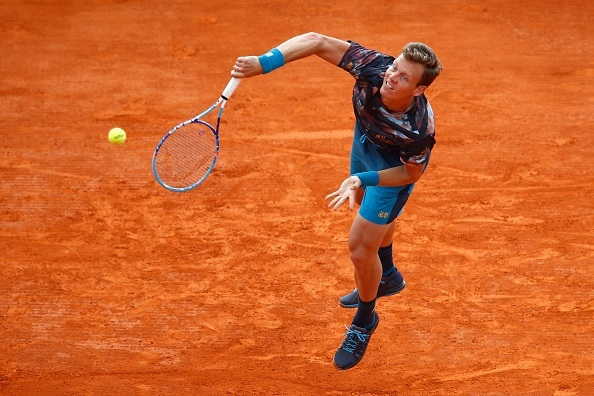 tomas berdych serving to gael monfils monte carlo masters 2015