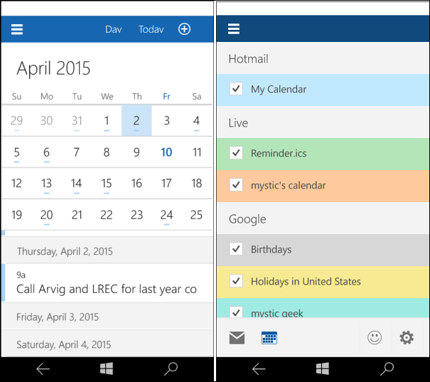windows 10 universal mail calendar apps 2015