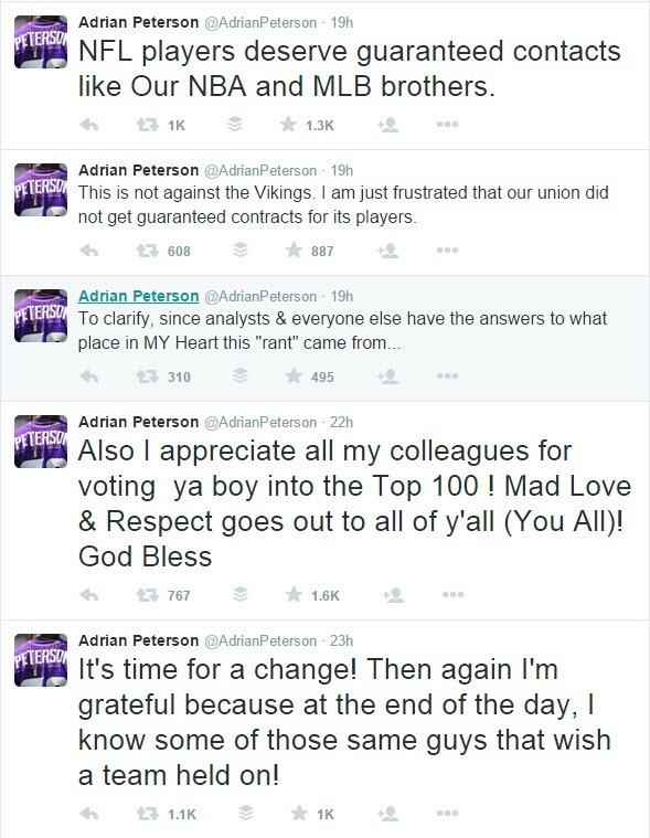 andrian peterson twitter about vikings 2015