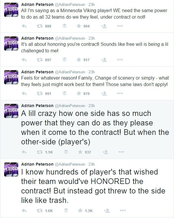 adrian peterson twitter tweets about nfl