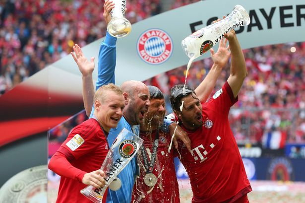 bayern munich win third bundesliga trophy 2015 images