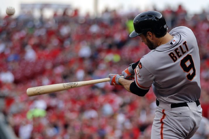 brandon belt big hot top man for giants national league mlb 2015