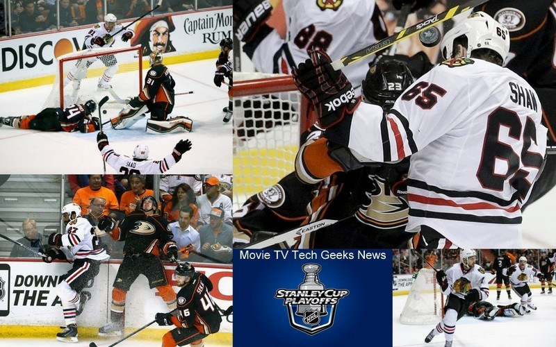 ducks vs blackhawks game 2 tied 2015 stanley cup playoffs images