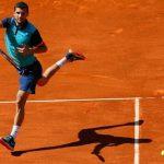 grigor dimitrov jumps for 2015 rome masters open win