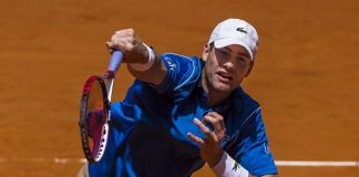 john isner slamming balls for 2015 rome masters open