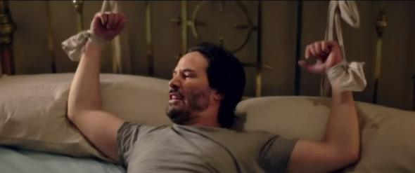 keanu reeves tied up for eli roths knock knock movie 2015
