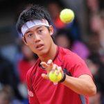 kei nishikori getting balls at 2015 french open
