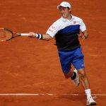kie nishikori returns to paul henri mathieu french open 2015
