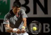 novak djokovic returns to tomaz bellucci 2015 rome open