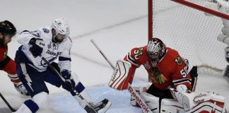 corey crawford keeping his manhole covered for blackhawks vs lightning stanley cup 2015