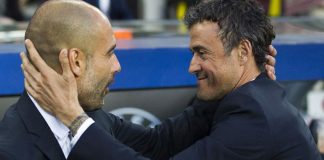 luis enrique with pep guardiola barcelona soccer 2015 images