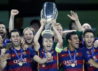 barcelona wins uefa super cup lionel messi soccer 2015