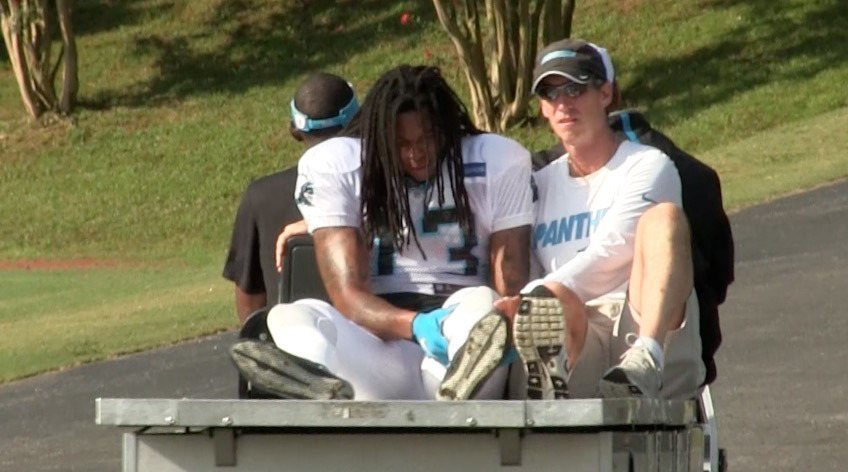 panthers kevin benjamin carted off nfl 2015 images