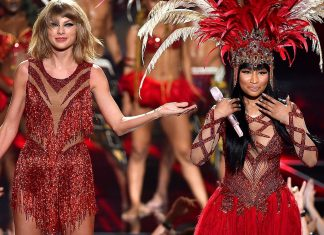 taylor swift with nicki minaj at vma top awards