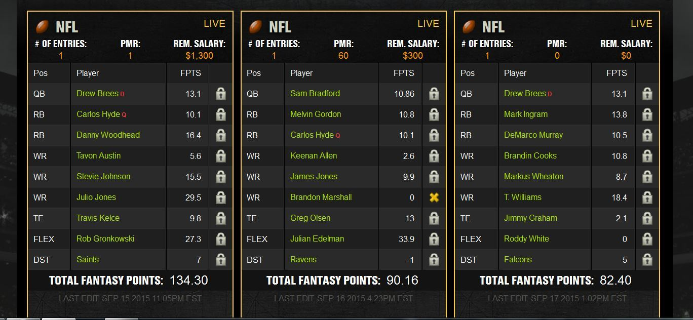 week 2 line up1 fantasy football blueprint