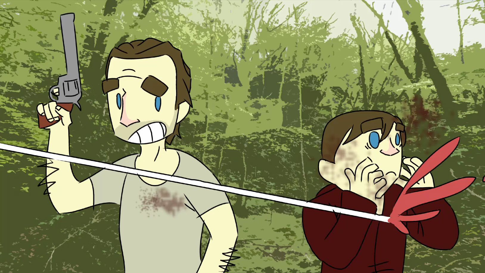 the walkind dead carl gets shot with rick 2015