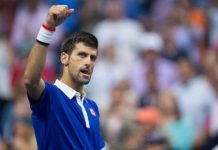 novak djokovic moves forward at paris masters 2015 tennis images