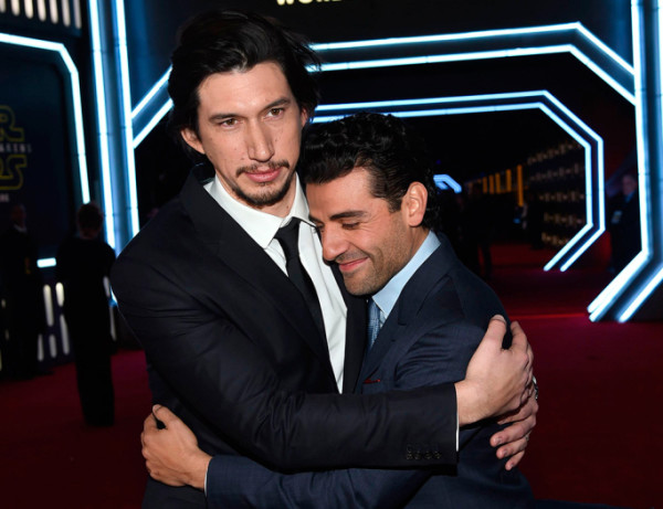 adam driver and oscar isaac star wars premiere force awakens 2015