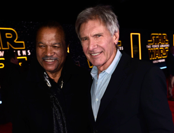 billy-dee-williams-and-harrison-ford star wars premiere force awakens 2015