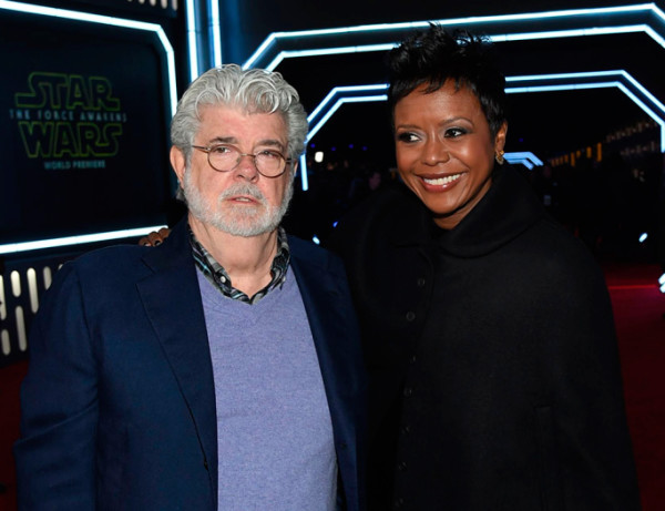 george-lucas-and-mellody-hobson star wars premiere force awakens 2015