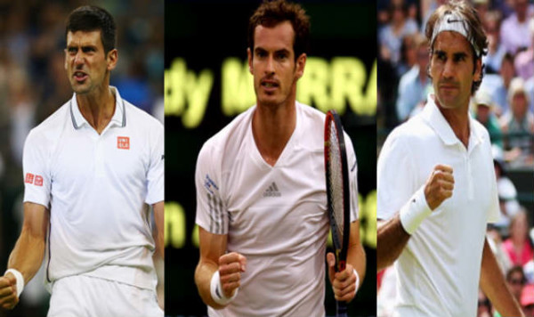 2016 australian open djokovic murray & federer in quarters tennis images