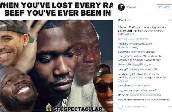 meek mill vs 50 cent again 2016 gossip