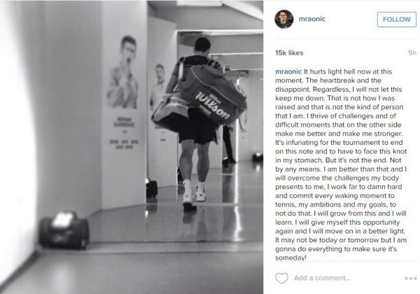 milos raonic instagram for fans after australian open loss 2016
