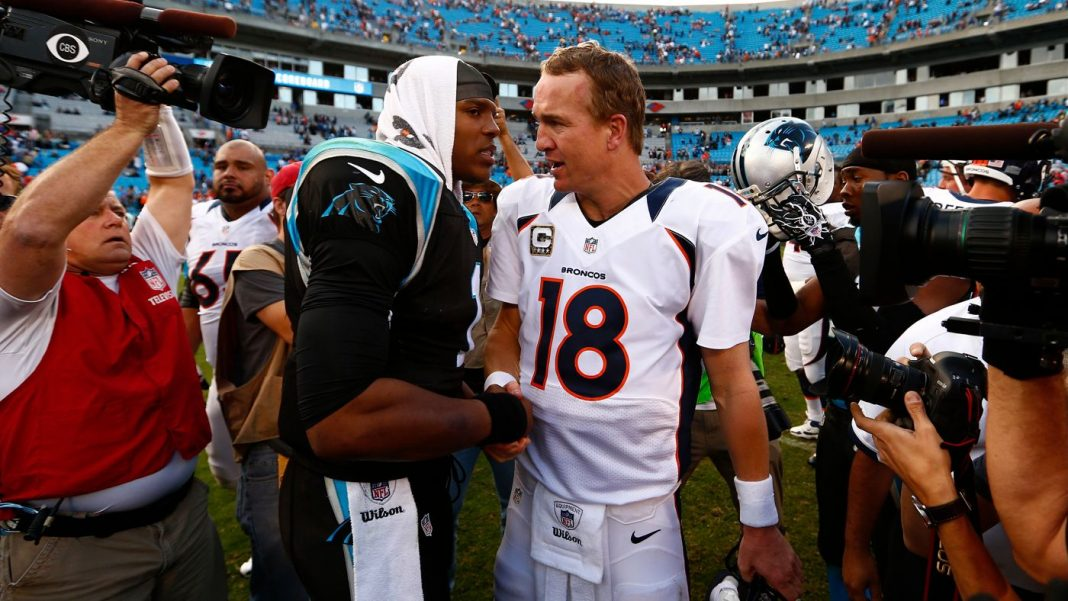 peyton manning vs cam newton super bowl 50 set 2016 images