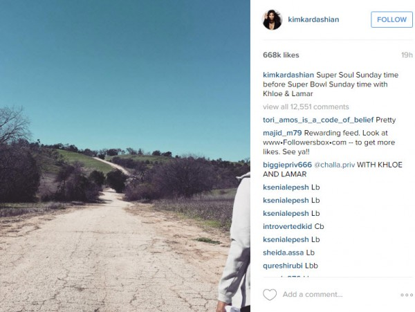 kim kardashian super bowl 50 hike 2016 gossip