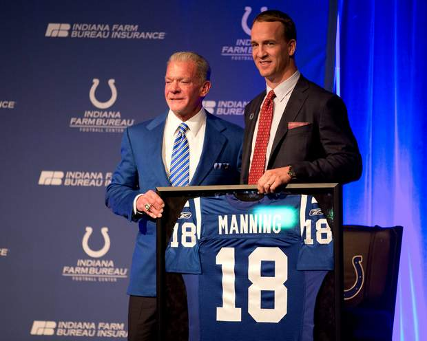 Colts Jim Irsay crawls back to peyton manning with statues & jerseys 2016 nfl
