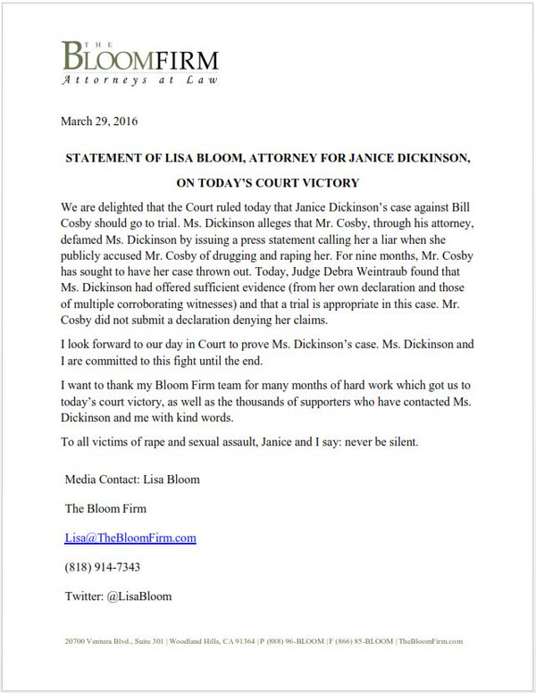 janice dickinson press release