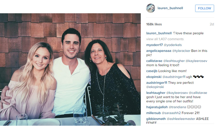 lauren bushnell instagram with ben higgins mom 2016 gossip