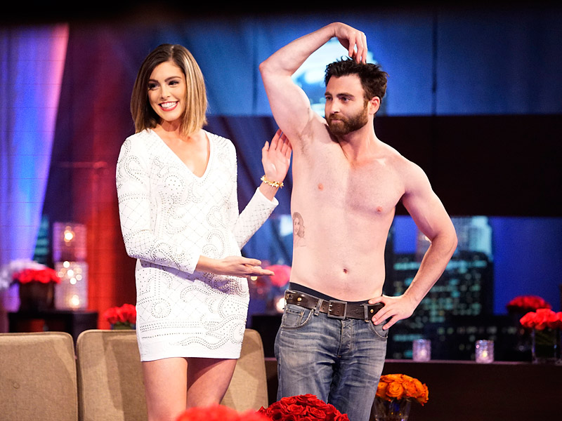 the bachelor guy strips down with lace tattoo on body 2016