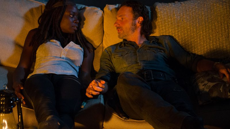 the walking dead 515 east rick with michonne holding hands