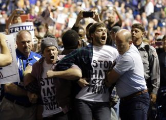 trump rally protestors