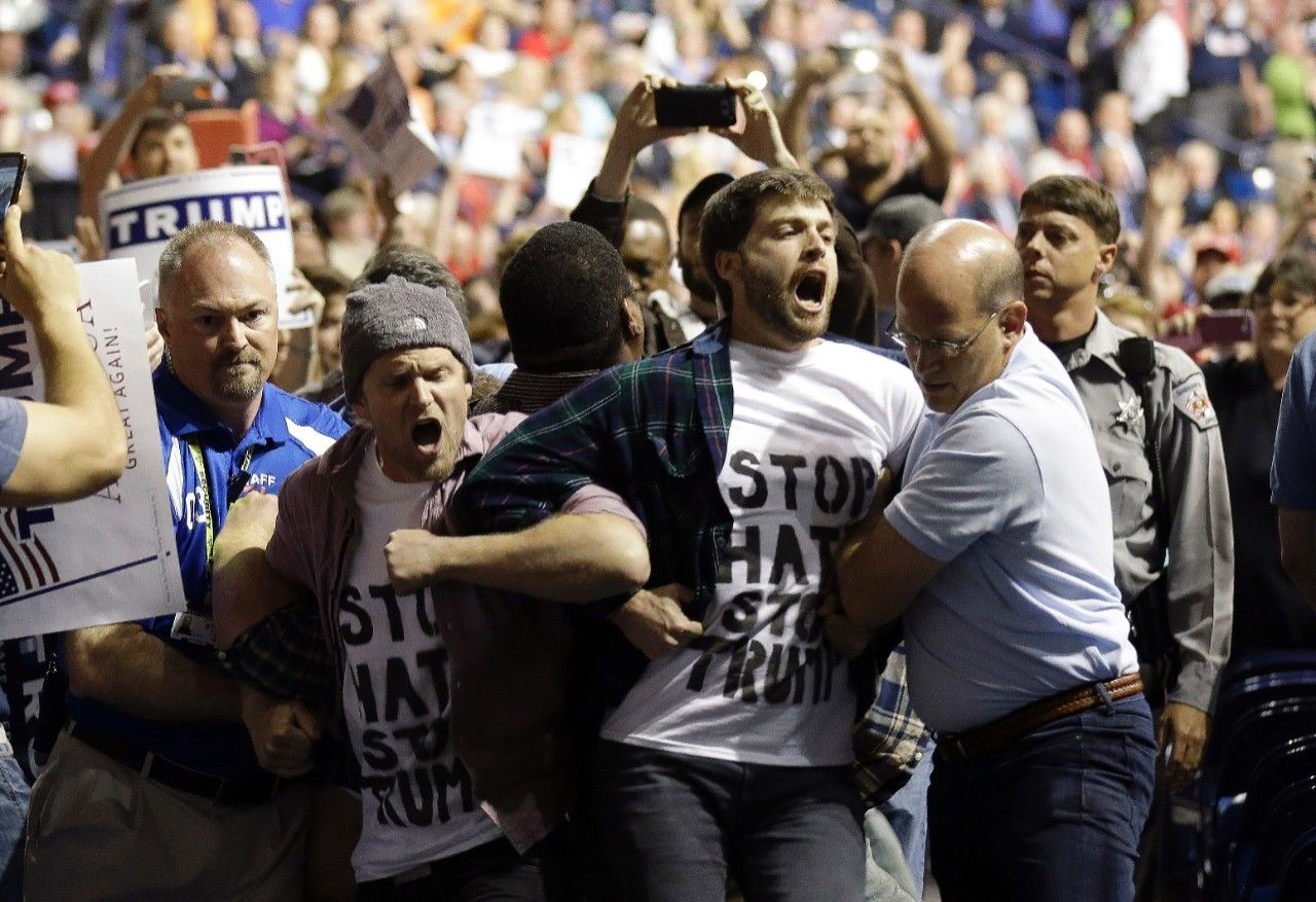 donald trump rally arrests getting out of control 2016 images
