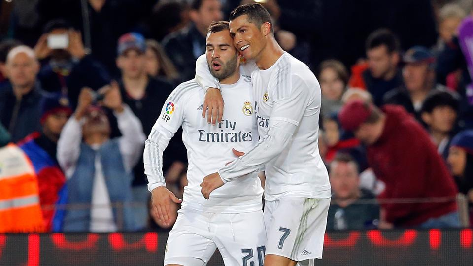 cristiano ronaldo with Karim Benzema soccer strike