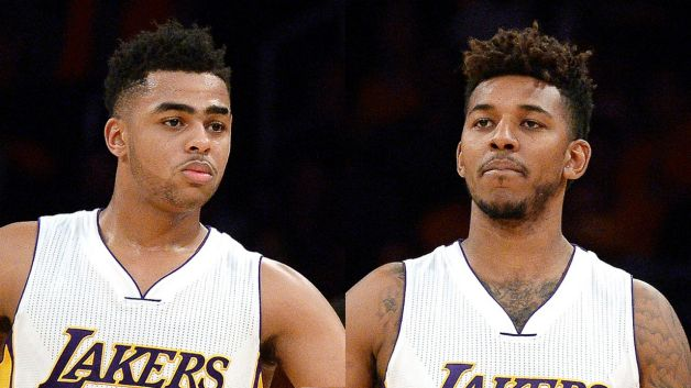 los angeles lakers backing d'angelo russell video feud with nick young 2016 images