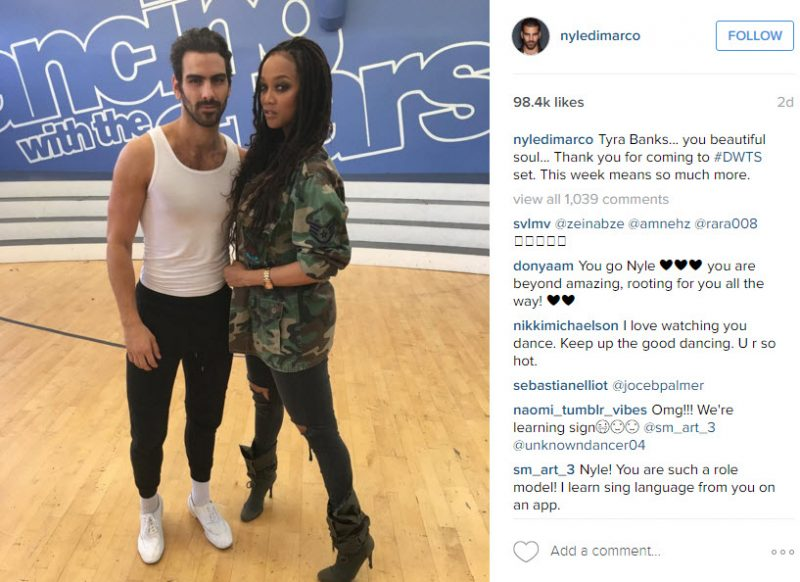 nyle di marco with tyra banks dancing with the stars shot