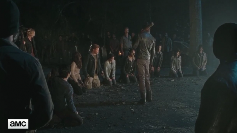 the walking dead group on knees with negan