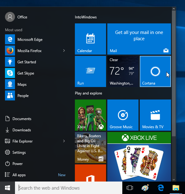 microsoft tweak windows 10 start menu again 2016