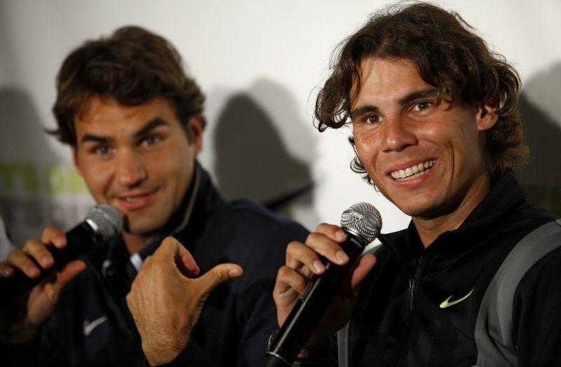 2016 Madrid Masters Rafael Nadal and Roger Federer share quarter tennis images