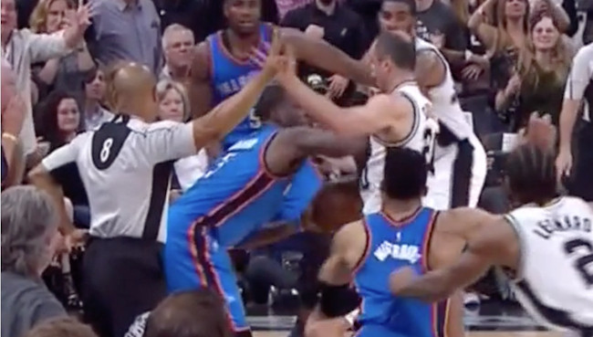 dion waiters pushing man ginobilo thunder vs spurs