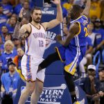 draymond green kicks steven adams groin