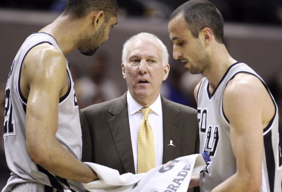 gregg popovich stumped on tim duncan and manu ginobili 2016 iamges